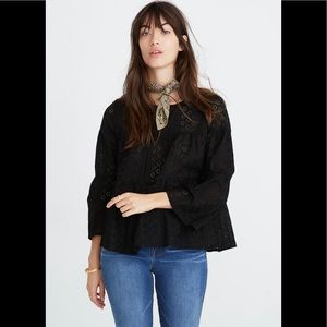 Madewell Eyelet Tiered Button-Back Top NWT